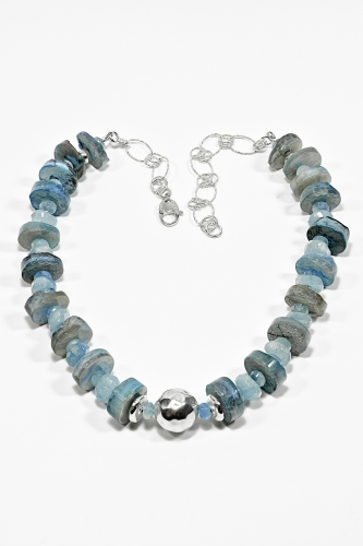 # Colombian Agate, aquamarine and sterling silver necklace - $240.