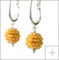 3 mm. Faceted Citrines woven together and Sterling Silver Earrings